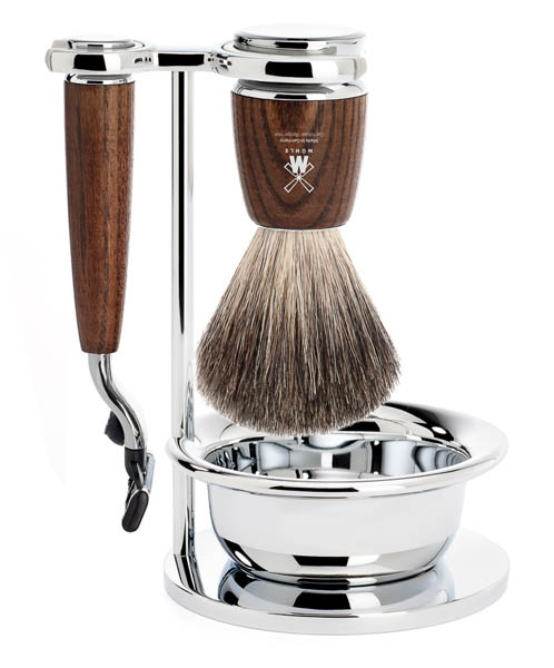 RYTMO Mach 3 Set Pure Badger- Steamed Ash with Bowl